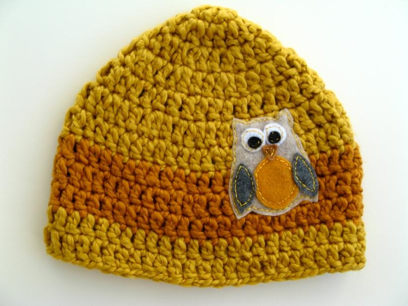 HAT Cotton - Boy's Owl Hat - Mustard Yellow and Burnt Orange