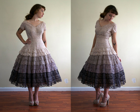 vintage 1950's lace dress / full skirt / ombre tiered / medium - POMP AND PRIDE on etsy