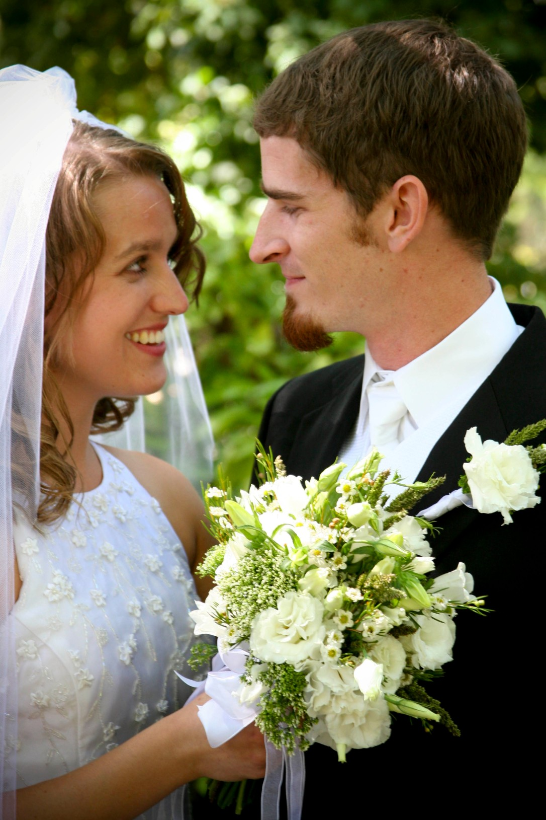 Josiah and Gina - Wedding Portrait with Lisianthus Bouquet