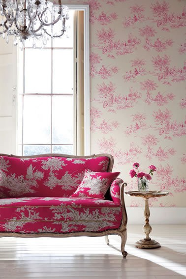 Pink Toile - Etienne - Amilie - Harlequin Wallpaper