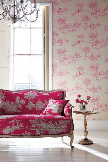 Pink Toile - Etienne - Amilie - Harlequin Wallpaper