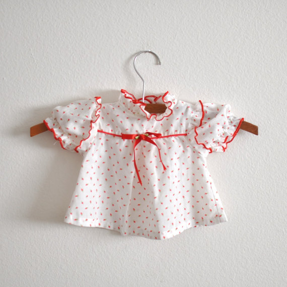 Vintage Red Floral Calico Newborn via Little Reader Vintage