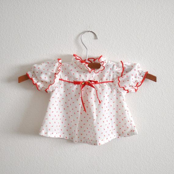 Vintage Red Floral Calico Newborn via Little Reader Vintage
