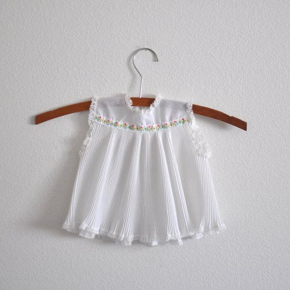Vintage White Pleated Dress via Little Reader Vintage