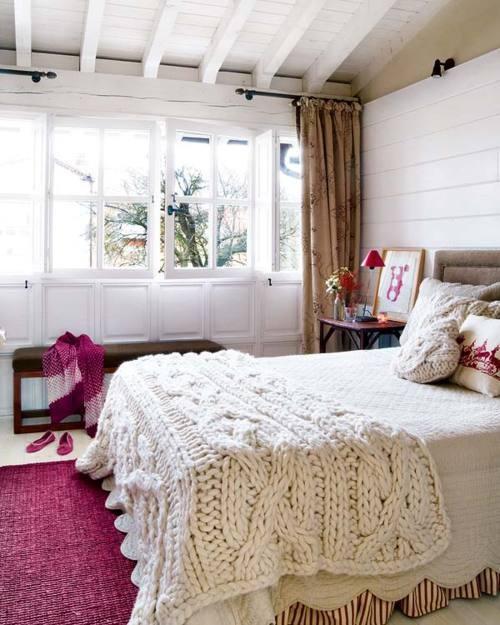 white cable knit throw via mi casa