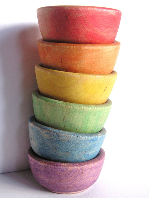 Wooden Rainbow Stacking Bowls - ApplenAmos on Etsy