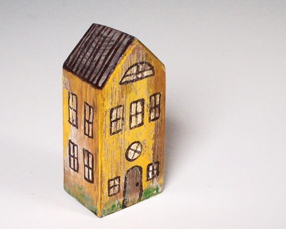 Wooden Yellow House via MerrittHyde on Etsy