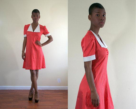 vintage 1970's dress / red striped / xs small medium via POMPANDPRIDE on etsy