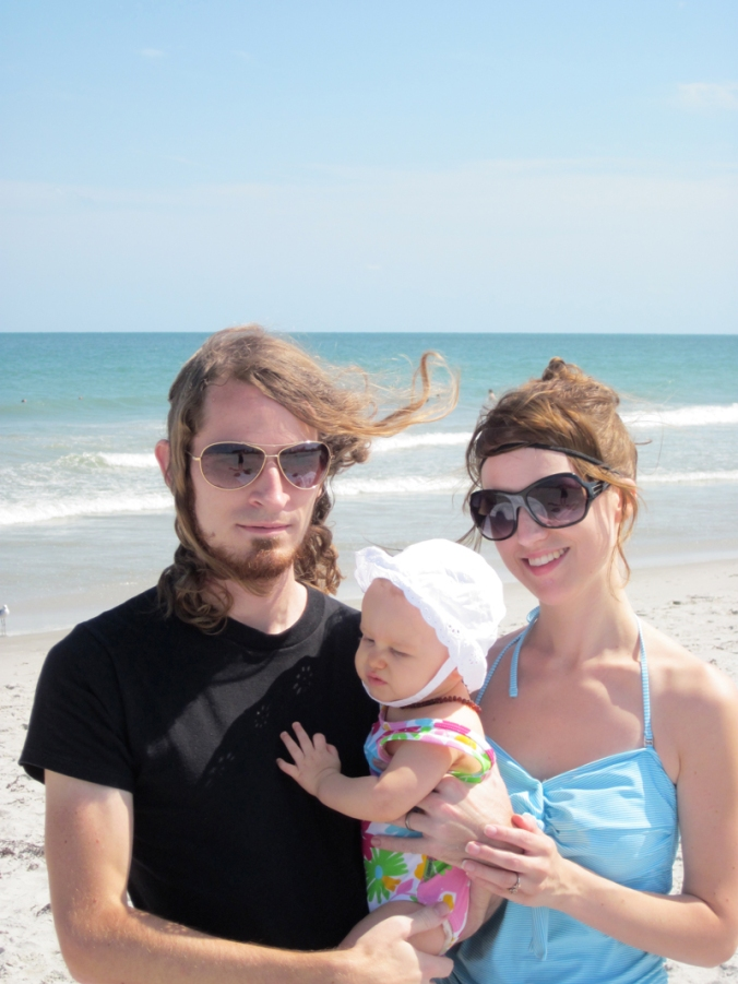 Gina and Josiah with Aveline on Cocoa Beach in FLorida