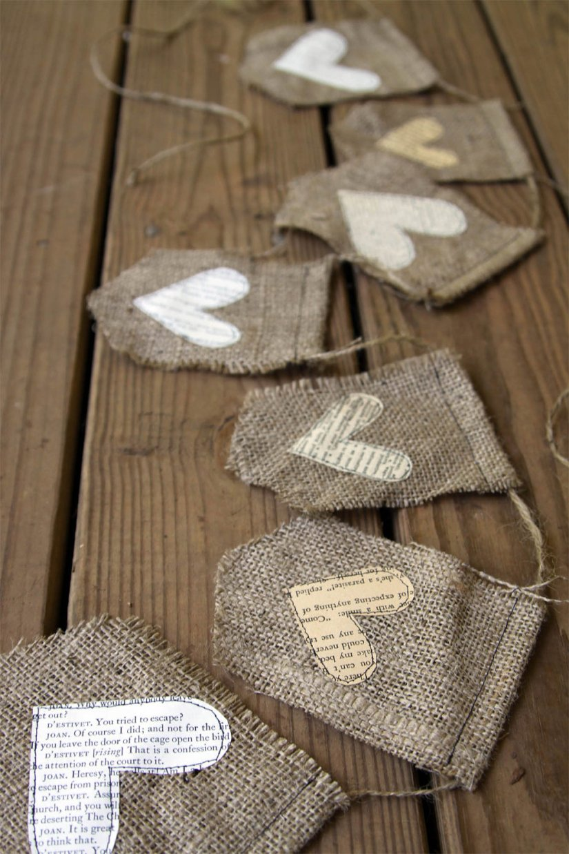 burlap banner with text hearts via iwishedforyou on etsy