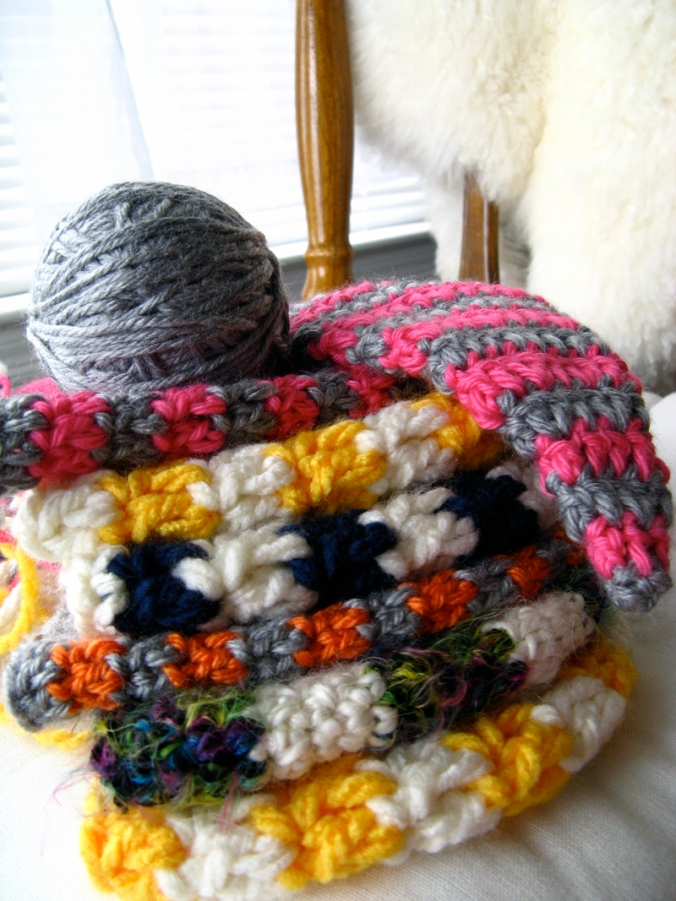 pink pixie hat and bright striped owl hats for Oaxacaborn on Etsy