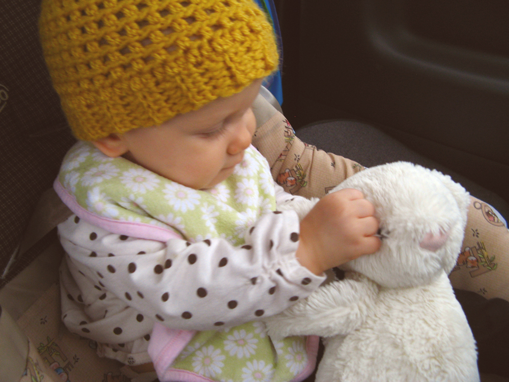 Aveline 2 - with mustard yellow handmade hat and jellycat bunny