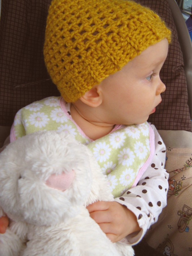 Aveline profile - with mustard yellow handmade hat and jellycat bunny