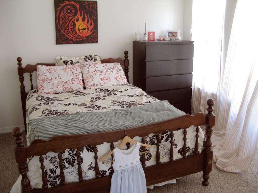 Black, White, Red and Orange Bedroom