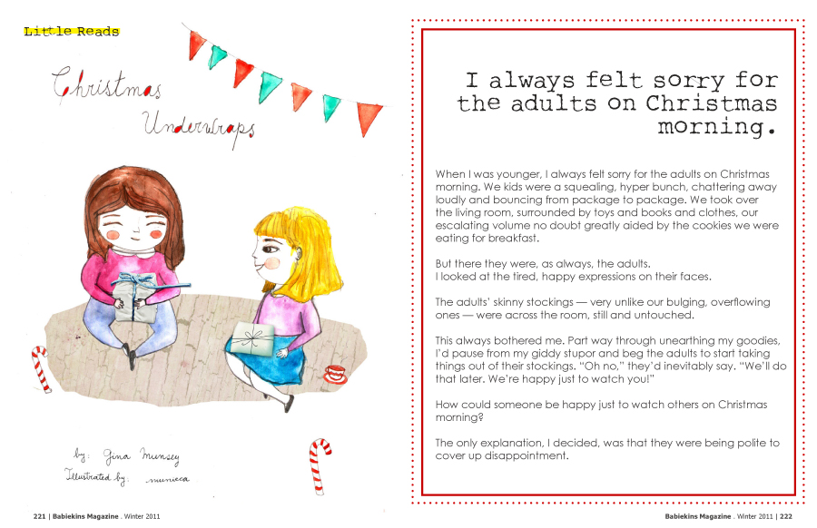 Christmas Underwraps by Gina Munsey Illustrated by Munieca in Babiekins Magazine Issue 7