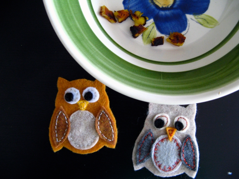 fried plantains in vintage bowl and handmade felt owls