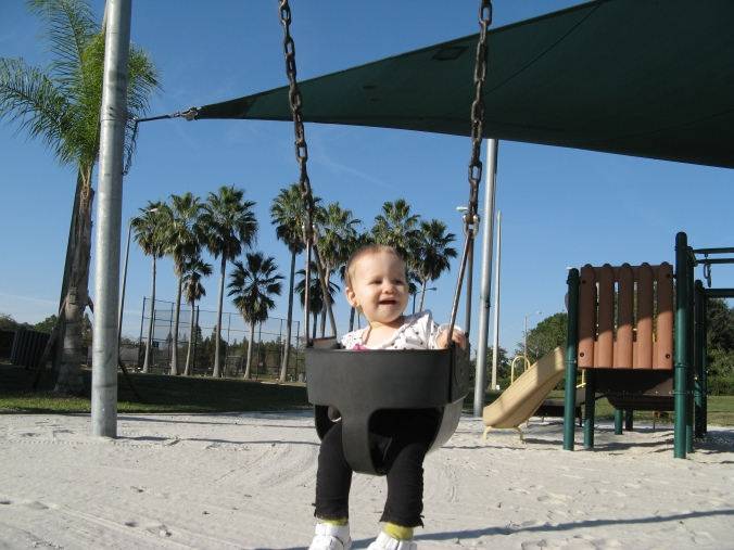 Aveline on the swings