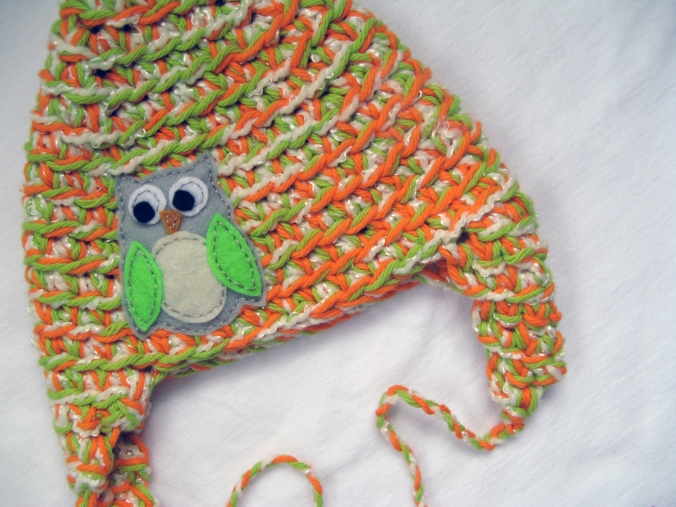 Owl Ear Flap Hat - 3 months - Oaxacaborn - FOR SALE $12 postage paid