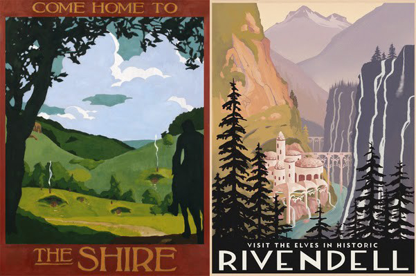 Steve Thomas Lord of the Rings Travel Posters