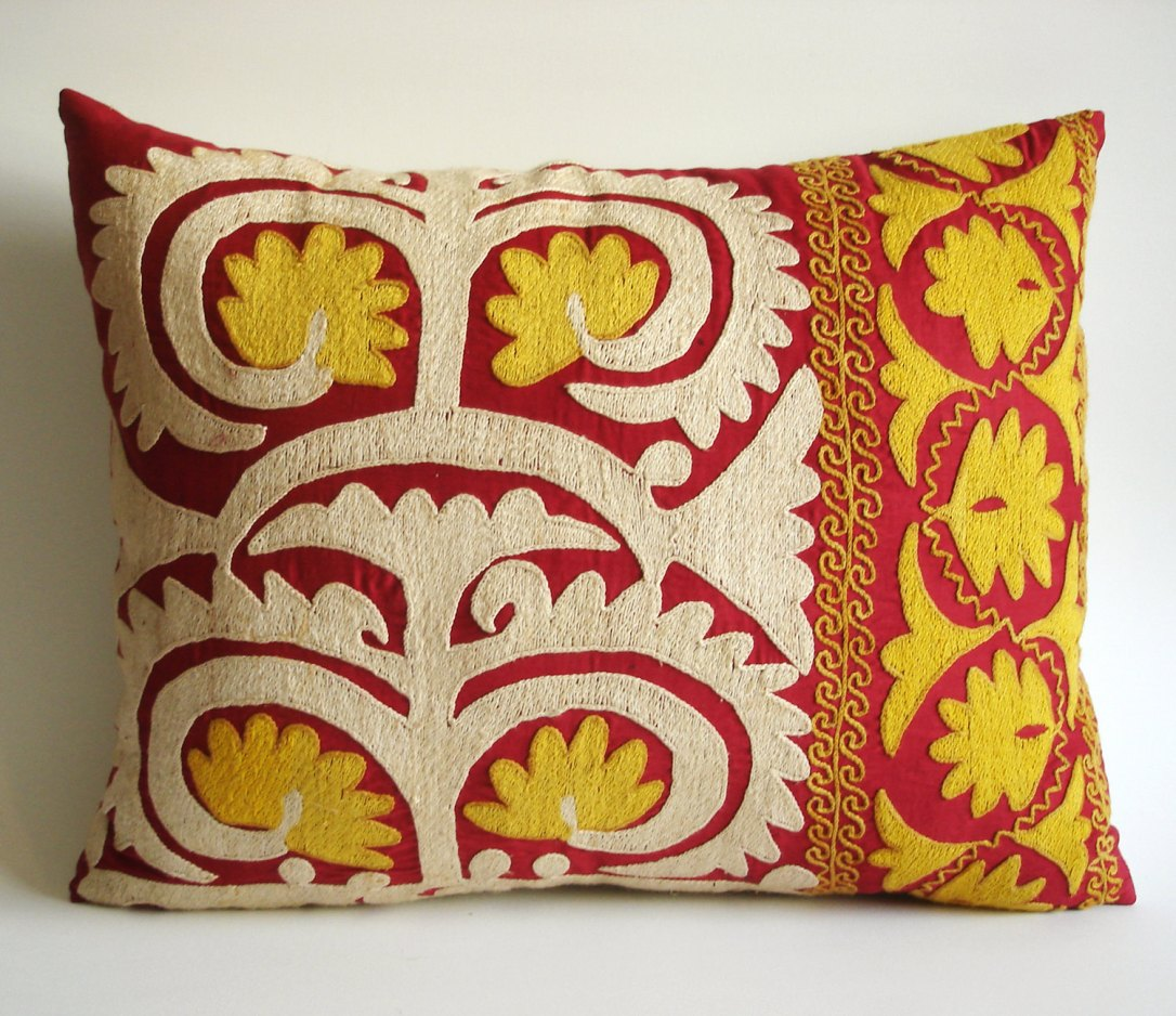 Vintage Embroidered Pillow by Sukan on Etsy