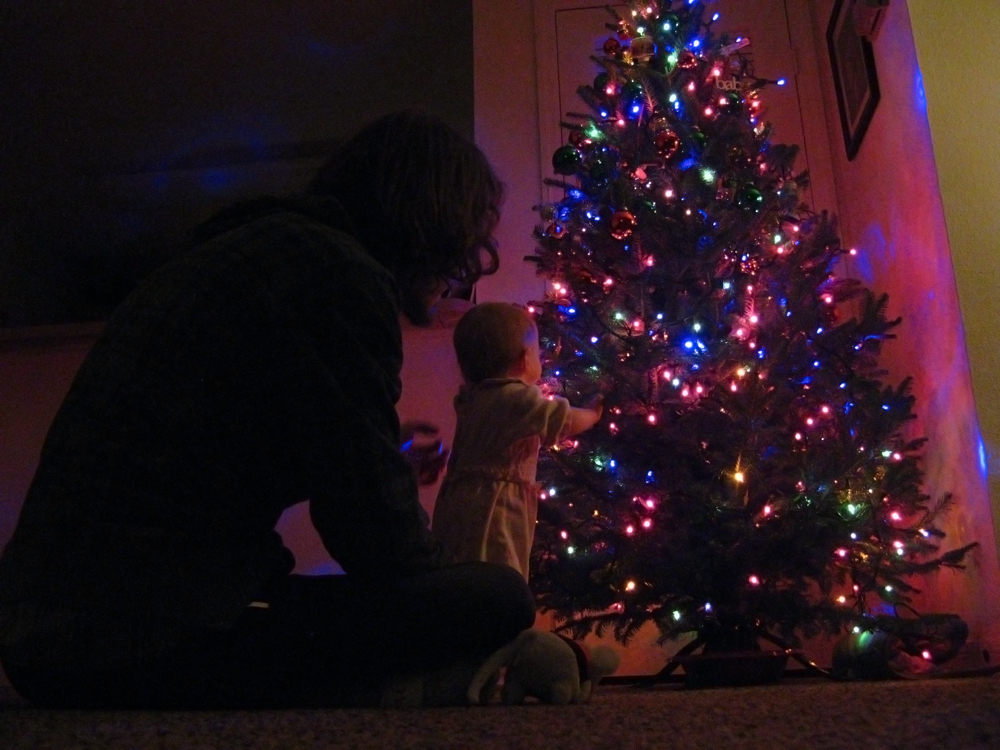 Papa and daughter - Christmas lights