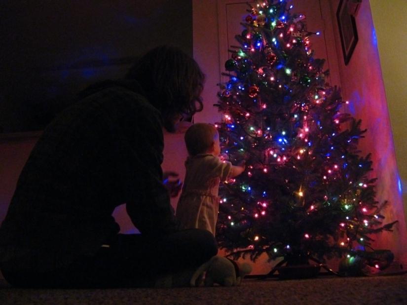 Papa and daughter - Christmas lights