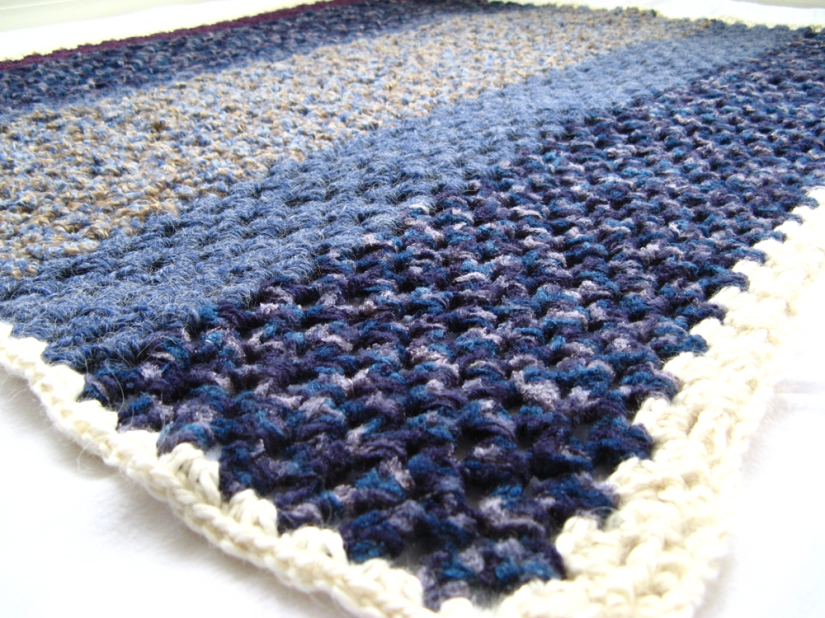 Bold Striped Baby Blanket 1 - Granny Stripe Crochet - Chenille, alpaca, and wool in blues and purples
