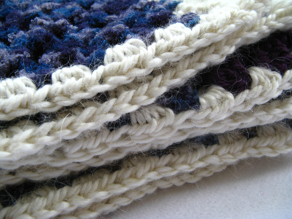 Bold Striped Baby Blanket  - Granny Stripe Crochet - Chenille, alpaca, and wool in blues and purples
