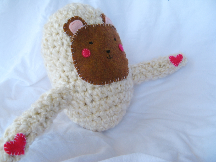 Kawaii Plush Creature - Bear with Open Hugging Arms with Heart