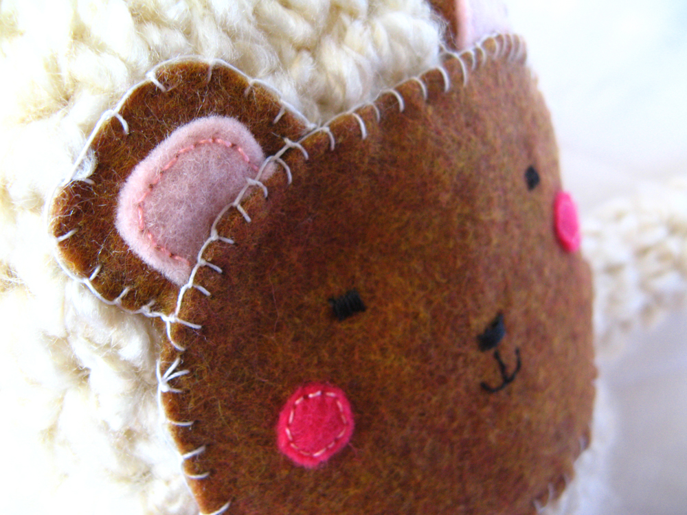 Kawaii Plush Creature - Rosy Cheeked Felt and Crochet Bear