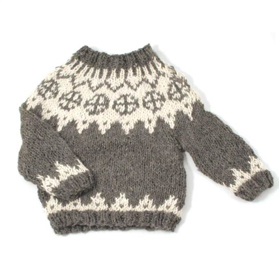 Mormor - Faroese Grey and White Baby Toddler Sweater - Handmade Alpaca - via Orfeo