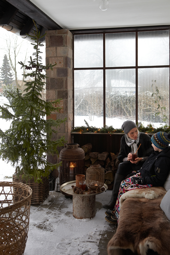 Mother and Son on Wintery Christmas Porch in Denmark in Winter - Snowy White Christmas - Image from Sköna hem