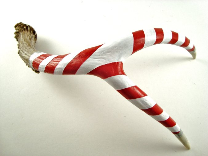 Red, WHite and Silver Painted Deer Antler - Candy Cane - via Maya Jade Creations on Etsy