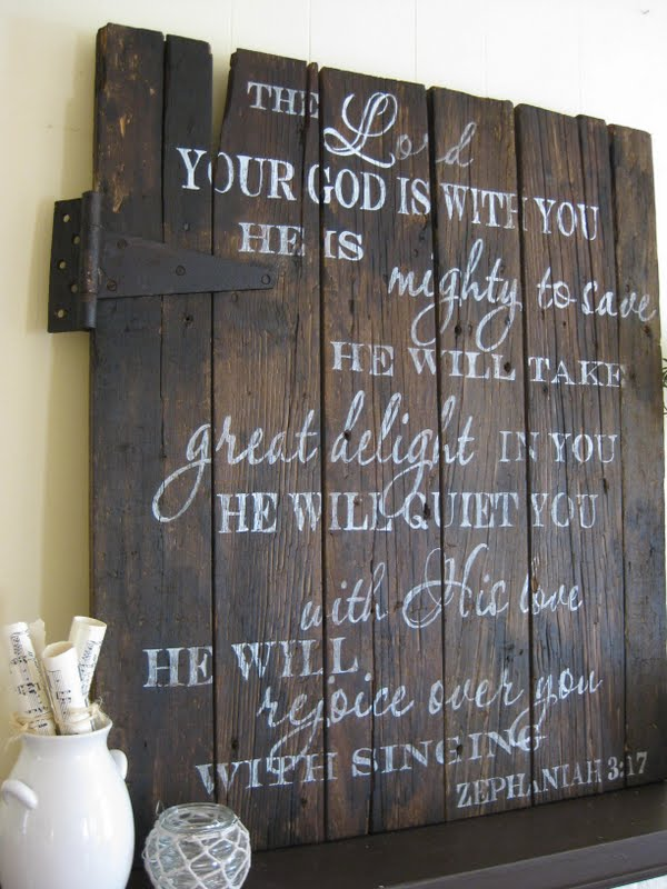Zephaniah 3-17 sign via Aimee Weaver - Distressed Wooden Sign with White Typography