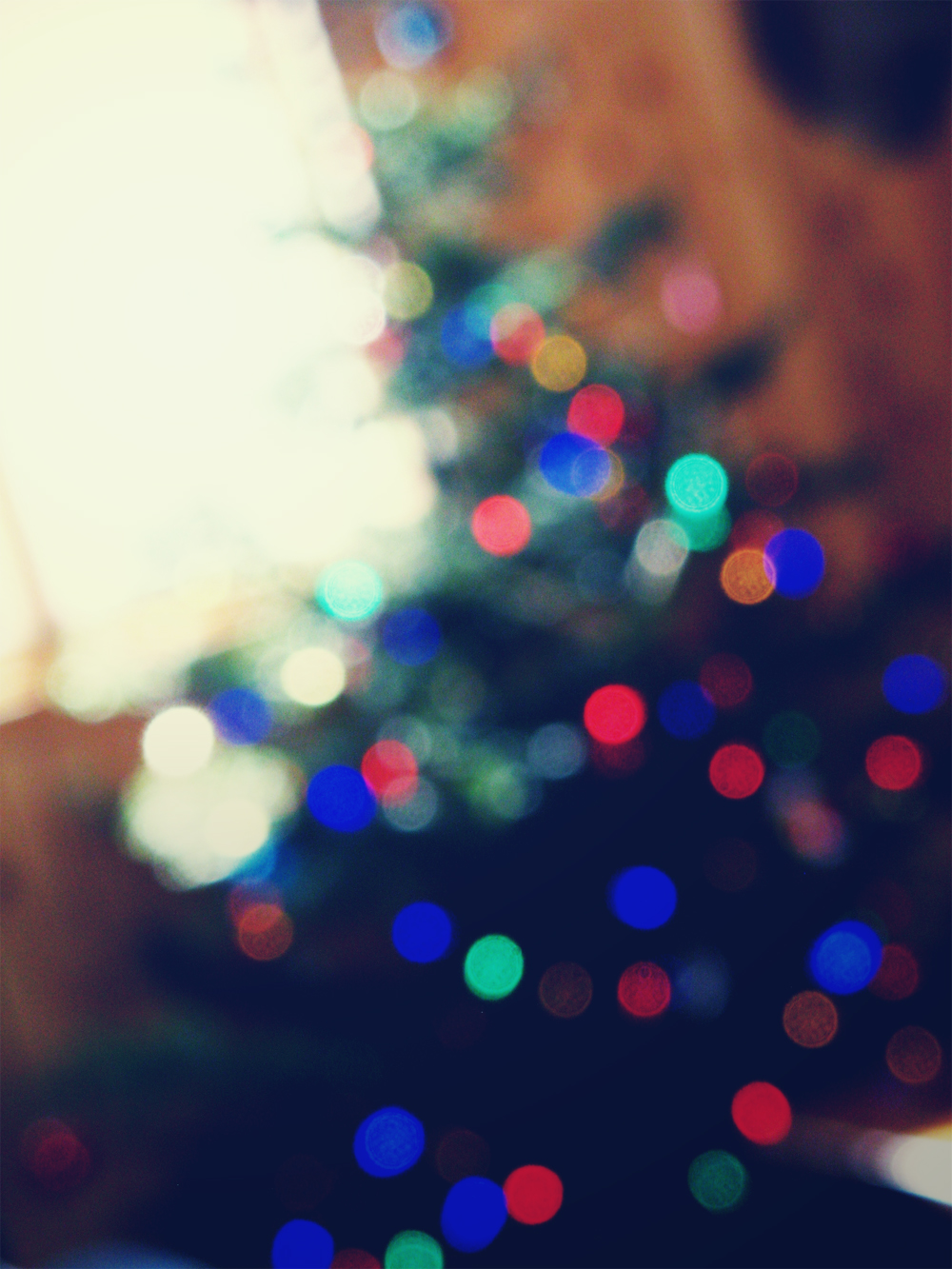 Bokeh Christmas tree near window