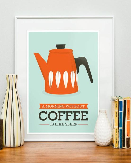 A morning without coffee is like sleep. Print by Jan Skácelík