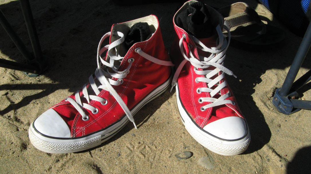 Red Converse - Chuck Taylor - on Sand