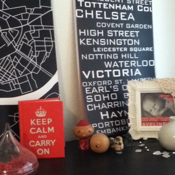 Top of my dresser with London grid art via TexturedINK on Etsy. I need to pick up some frames so I can hang these prints!