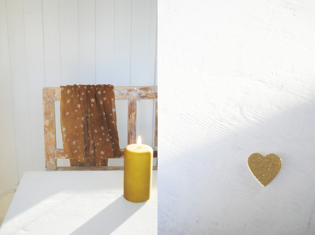 white wood, mustard candle, sparkle grey heart, and star fabric via moa og kaffekoppen