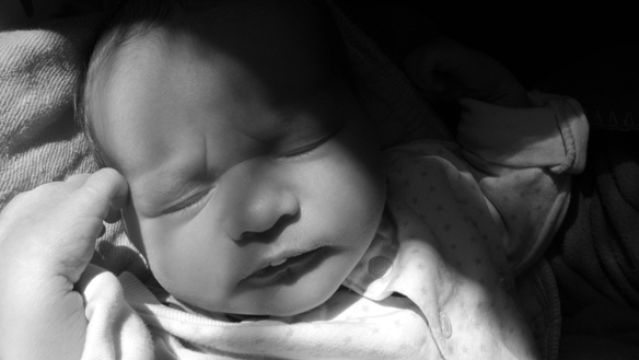 Widescreen baby portrait in black and white