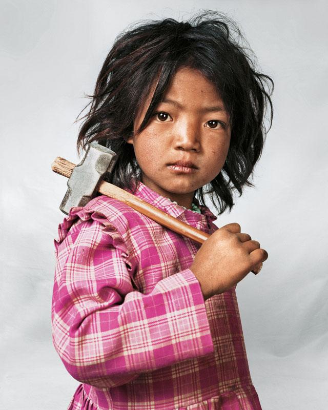 Portrait of Indira, 7, Kathmandu, Nepal - Where Children Sleep James Mollison