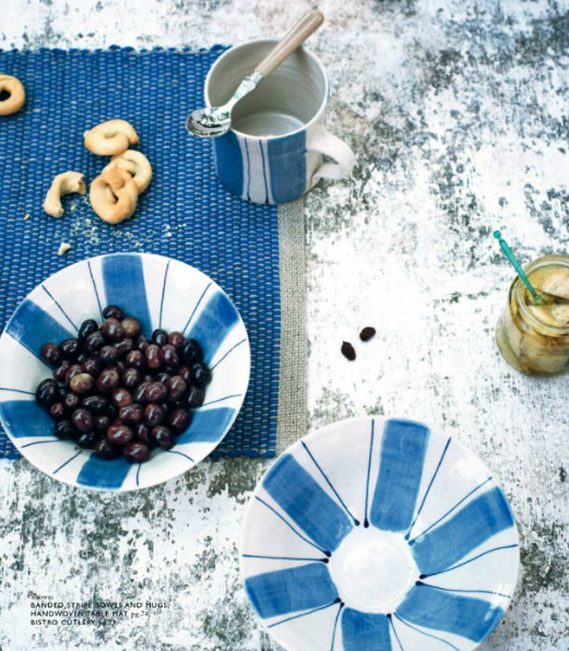 Toast UK House & Home Spring Summer 2012 SS 12 - Blue and white striped bowls and mugs and blue placemats