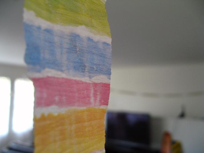 Striped crepe paper close up