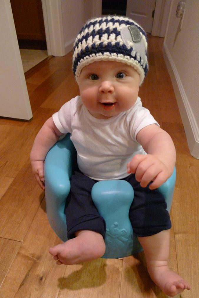 Elephant Hat Modeled by Little Boy