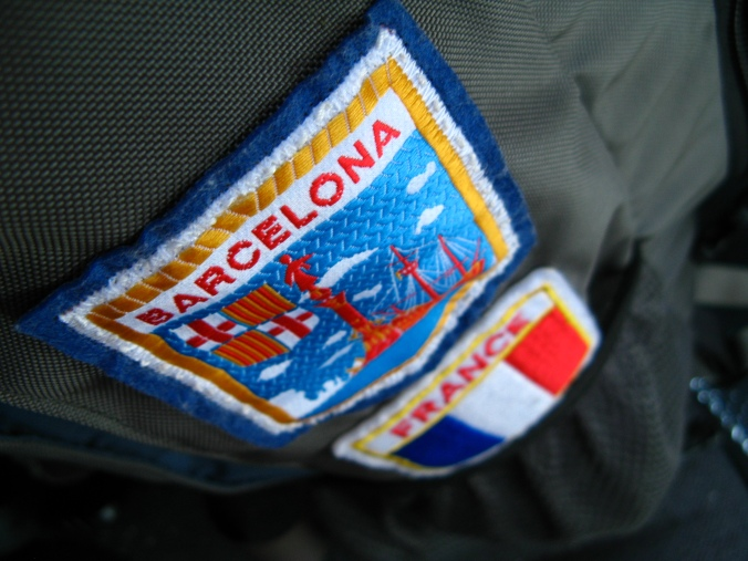 Patches on backpack from Europe travels