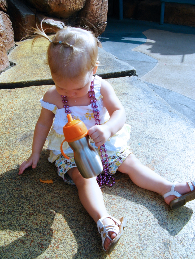 Having a snack at sea world in May 2012