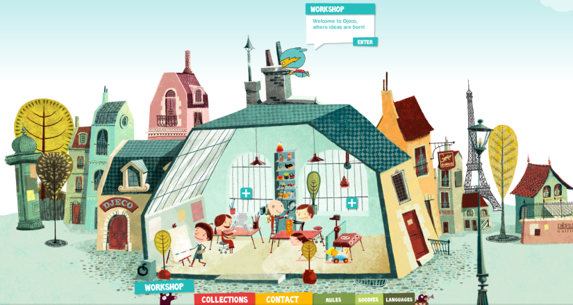 Screen Shot of Djeco website - Interactive website with illustrations and unique design
