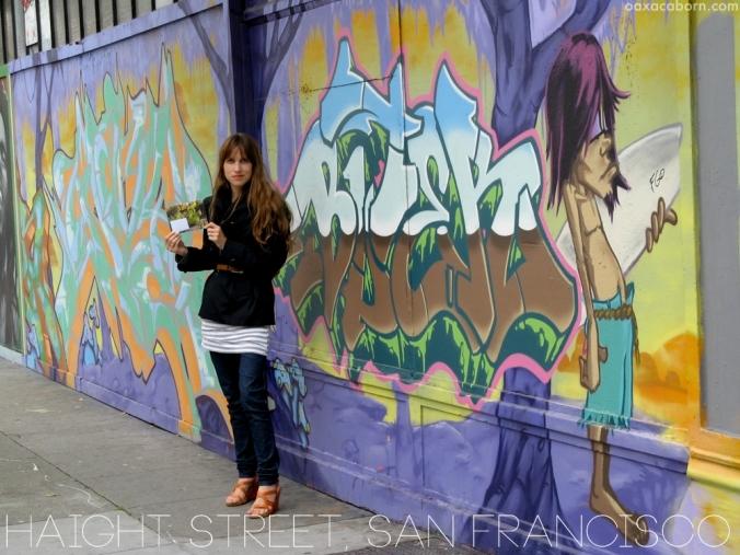 on Haight Street with IRLOMashup card from TicoandTina dot com, photo via Oaxacaborn dot com