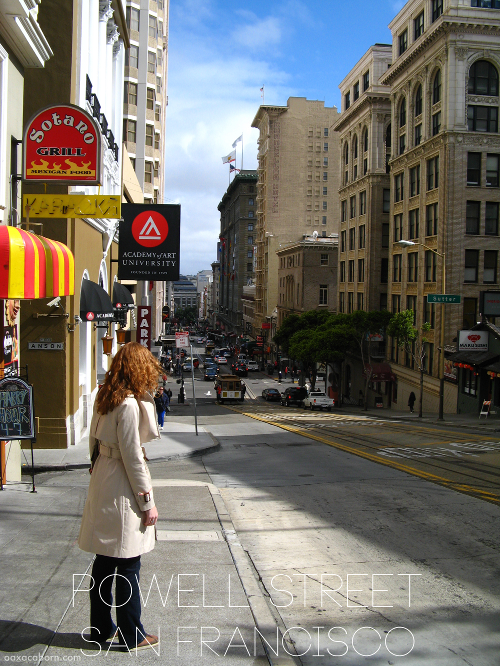Powell Street in San Francisco, photo via Oaxacaborn dot com