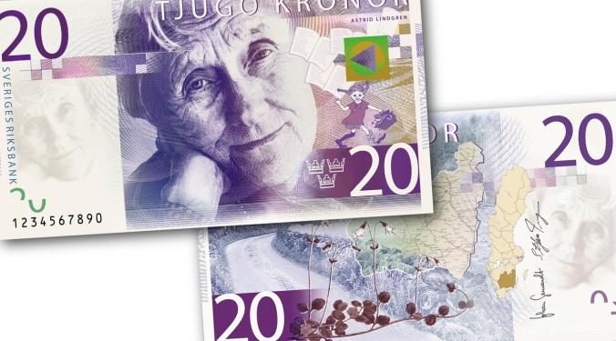 Pippi Longstocking Author Astrid Lindgren on the New 20 Kronor Swedish Banknote